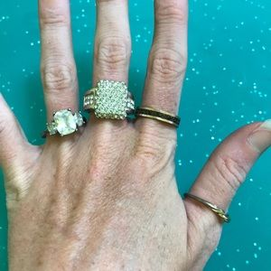 Jewelry - Lot of 4 vintage diamond gold rings size 8 thumb